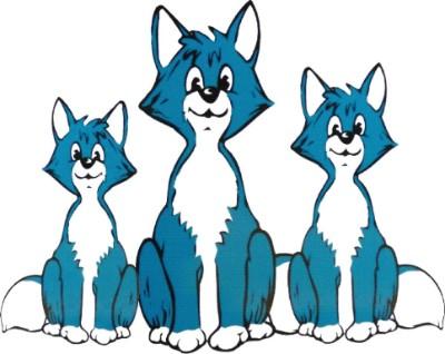 Das Logo des Vereins Kleine Füchse e.V. in Jülich: drei Füchse in weiss und blau